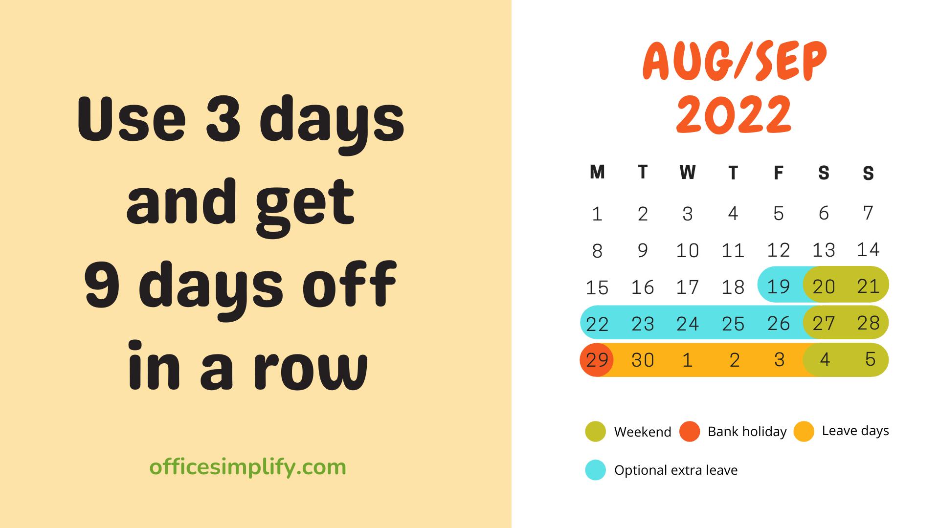 August/September 2022 employee leave plan