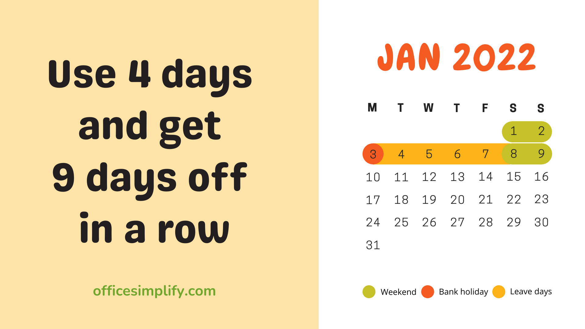 January 2022 calendar leave planner
